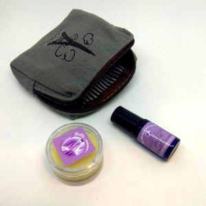 Trousse baume à lèvres rose et Camélia et psy-aromatiques